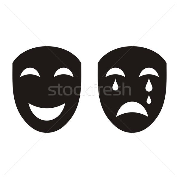 Színpadi maszkok kettő fekete boldog szomorú Stock fotó © blumer1979