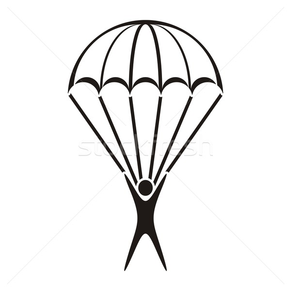 Stock photo: Parachute jumper icon