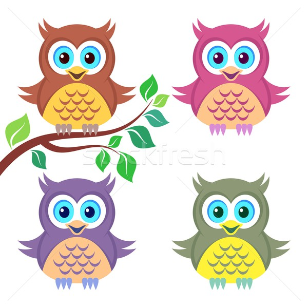 Colorful owls Stock photo © blumer1979