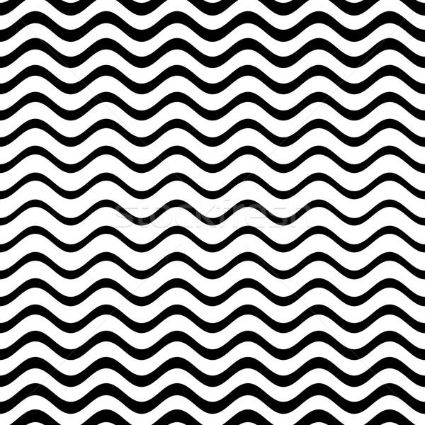 Sin costura ondulado línea patrón negro vector Foto stock © blumer1979