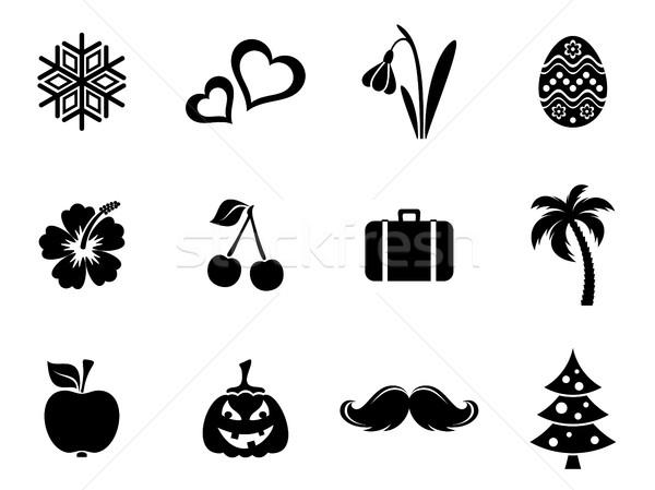 Negro vector calendario mes símbolos siluetas Foto stock © blumer1979