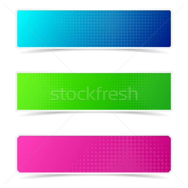 Halftone kreatív bannerek vektor színes hatás Stock fotó © blumer1979
