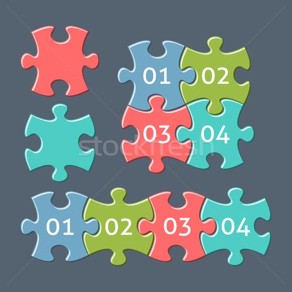 Kirakós játék darabok számok vektor színes retro Stock fotó © blumer1979