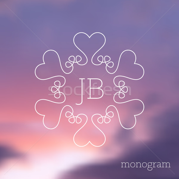 Moderno elegante vetor monograma floral Foto stock © blumer1979