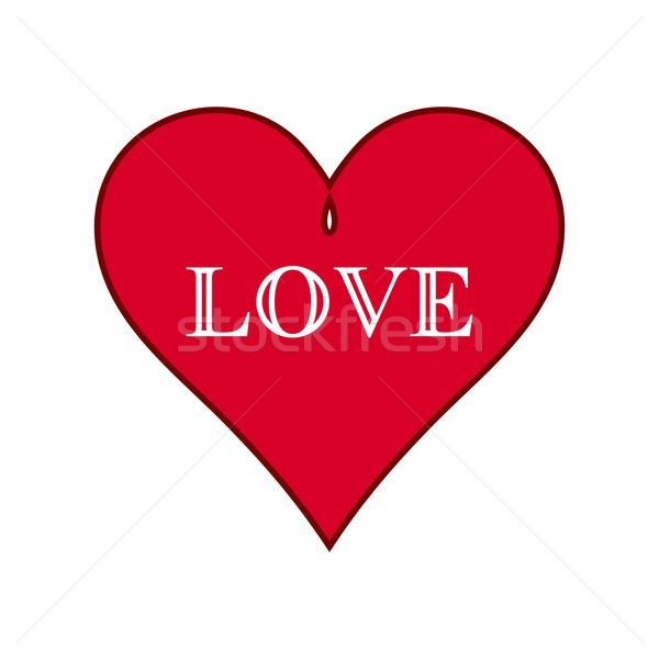 Piros szív vektor fehér szeretet szöveg Stock fotó © blumer1979