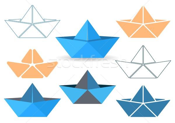 Origami bateaux vecteur papier Photo stock © blumer1979