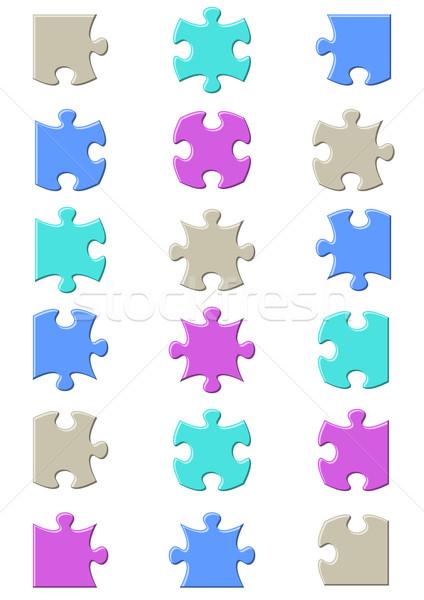 összes lehetséges formák kirakós játék darabok színes Stock fotó © blumer1979