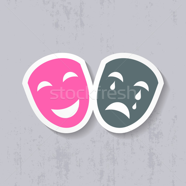 Felice triste teatrale maschere etichetta sorriso Foto d'archivio © blumer1979