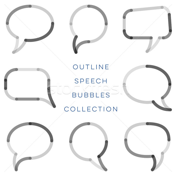Modern outline speech bubbles collection Stock photo © blumer1979