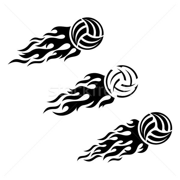Voleybol top yanan vektör logo tasarımı şablon Stok fotoğraf © blumer1979