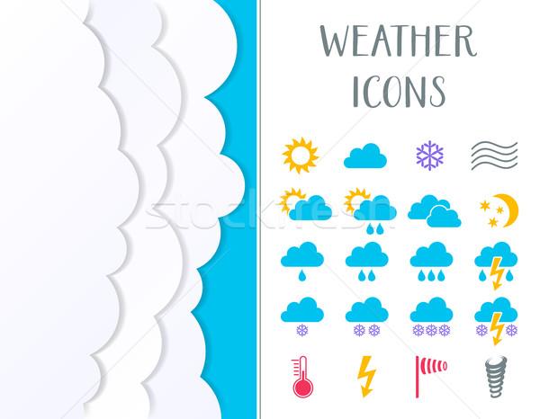 Renkli vektör hava durumu simgeler toplama bulutlar Stok fotoğraf © blumer1979