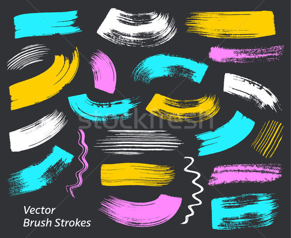 Grunge vector art brush strokes collection Stock photo © blumer1979