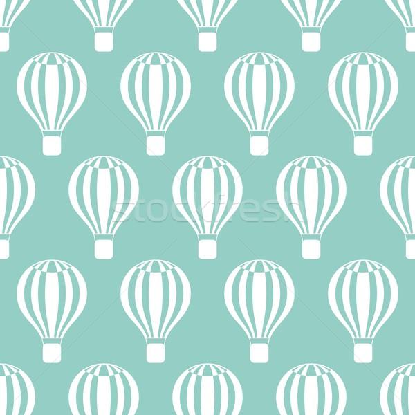 Stockfoto: Hot · lucht · ballonnen · patroon · naadloos · retro · patroon