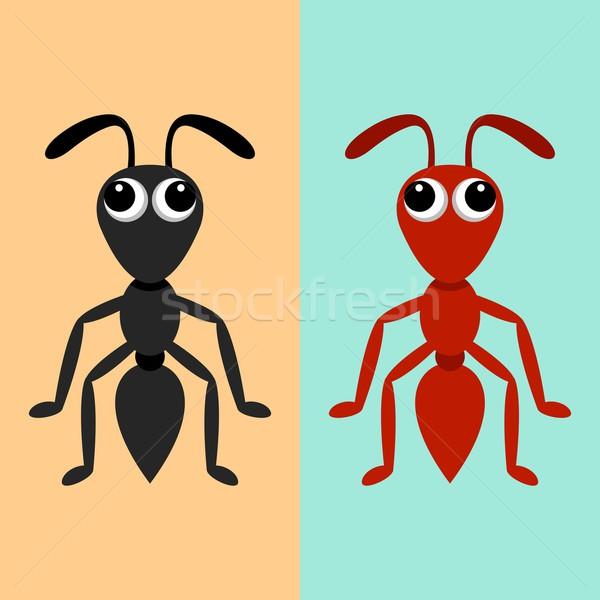 Nero rosso formiche ant cartoon Foto d'archivio © blumer1979