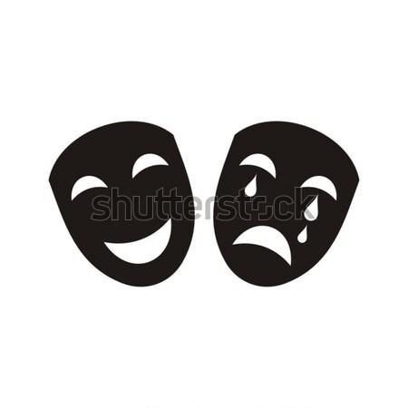Színház ikon fekete vektor izolált fehér Stock fotó © blumer1979