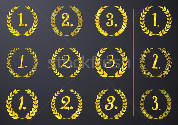 Golden Vektor Lorbeer erste zweiten dritten Stock foto © blumer1979