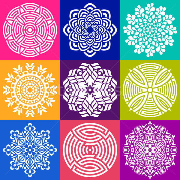 Meetkundig abstract mandala vector illustraties collectie Stockfoto © blumer1979