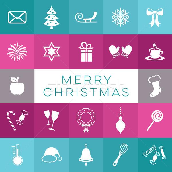Vidám karácsony vektor kártya egyszerű ikonok Stock fotó © blumer1979