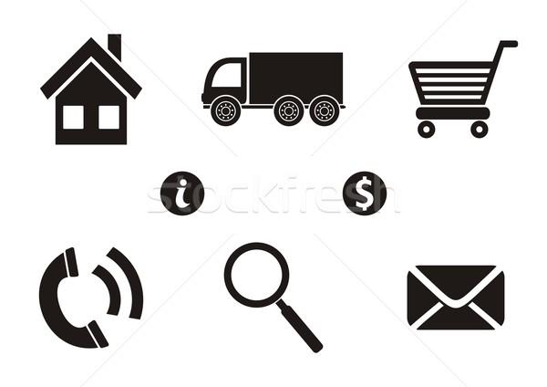 Shopping icone business consegna icone web nero Foto d'archivio © blumer1979