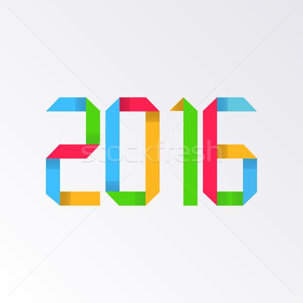 Nieuwjaar 2016 origami kleurrijk wenskaart ontwerp Stockfoto © blumer1979