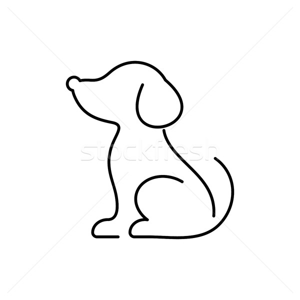 Black vector dog thin line icon Stock photo © blumer1979