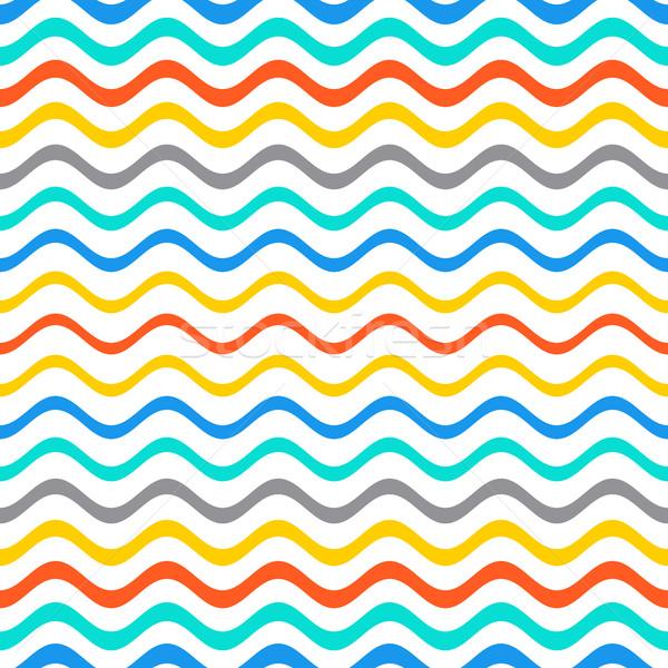 Bezszwowy gradient falisty line wzór lata Zdjęcia stock © blumer1979