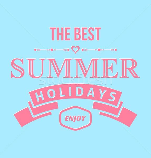 Typographique design rose été vacances bleu Photo stock © blumer1979