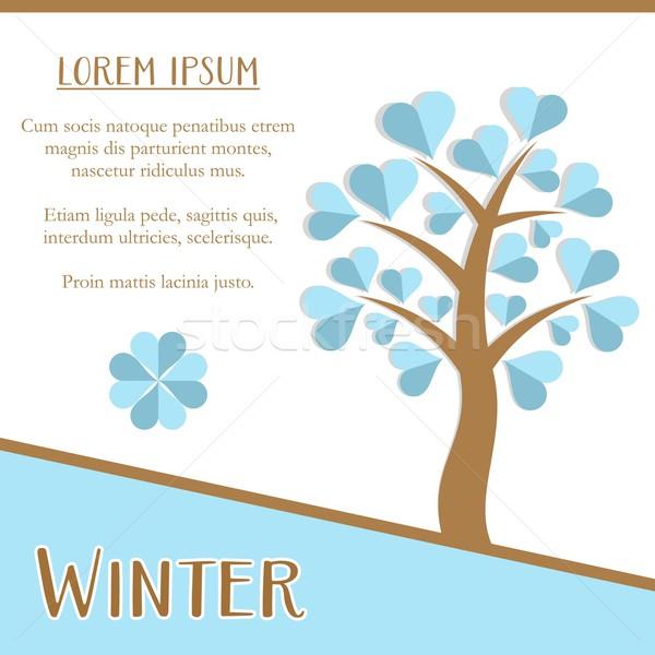 Kış sezonu kart tebrik kartı dizayn mavi ağaç Stok fotoğraf © blumer1979