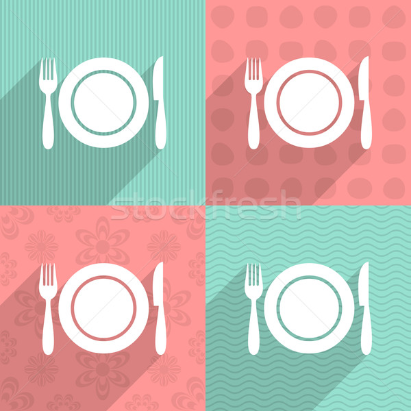 Menú icono colorido fondos blanco largo Foto stock © blumer1979