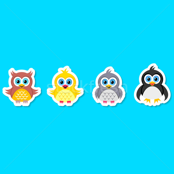 Сток-фото: совы · голубь · куриные · пингвин · красочный · вектора