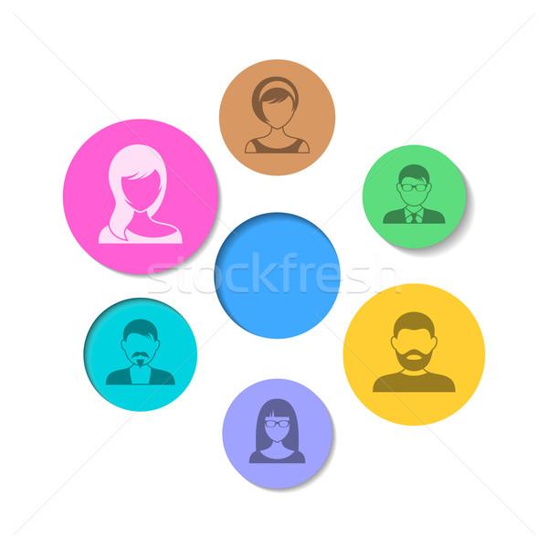 Ludzi ikona streszczenie wektora kolorowy circles Zdjęcia stock © blumer1979