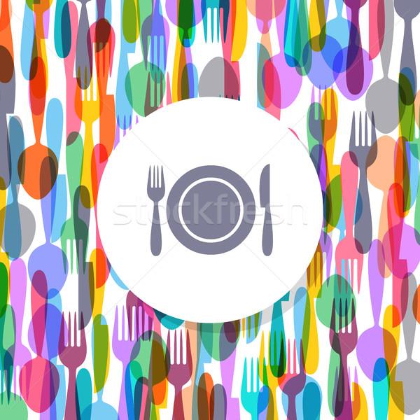 étterem menü borító terv színes evőeszköz Stock fotó © blumer1979