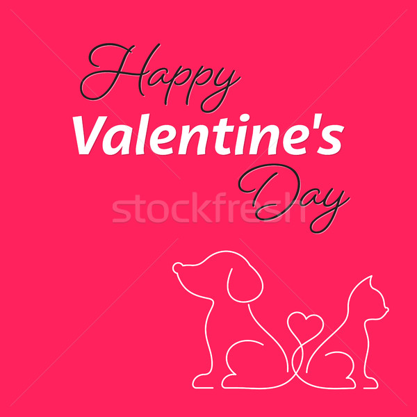 Happy valentine card with cat and dog Stock photo © blumer1979