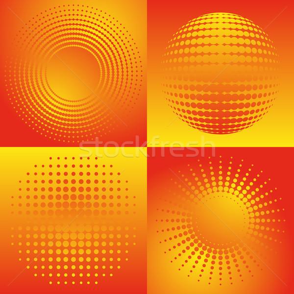 En demi-teinte design belle orange résumé ensemble Photo stock © blumer1979