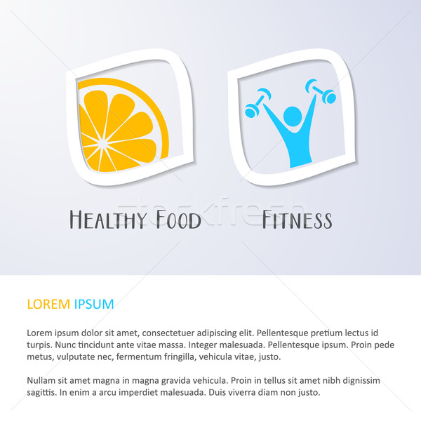 Aliments sains fitness symboles papier alimentaire bâtiment Photo stock © blumer1979