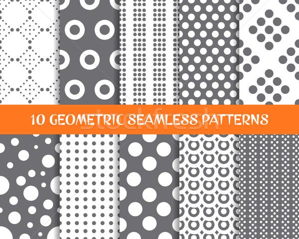 Vector geometric seamless dot patterns Stock photo © blumer1979