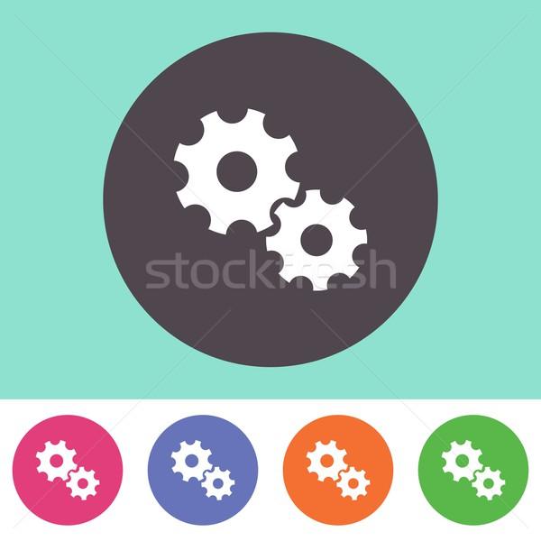 Engins roues icône vecteur coloré boutons Photo stock © blumer1979