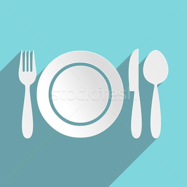 Photo stock: Restaurant · menu · icône · plaque · coutellerie · alimentaire