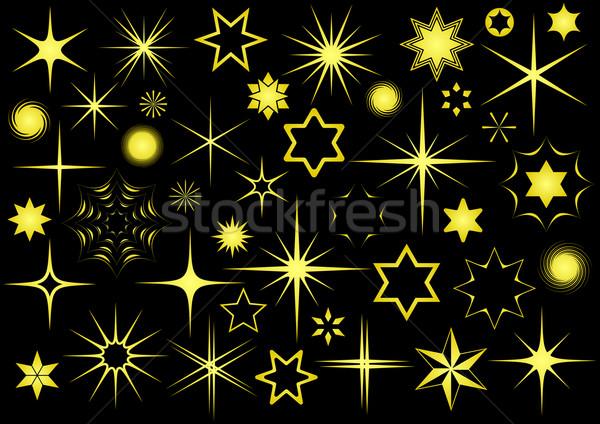 Estrellas dorado vector colección negro Foto stock © blumer1979