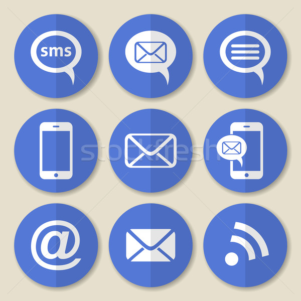 Stock photo: Communication flat icons