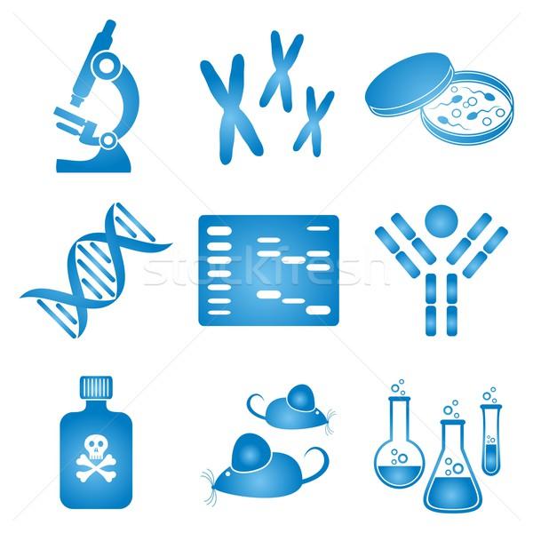 Biológia tudomány ikon szett kék fehér molekuláris Stock fotó © blumer1979