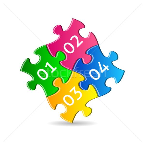 Coloré pièces de puzzle quatre ensemble nombre affaires Photo stock © blumer1979