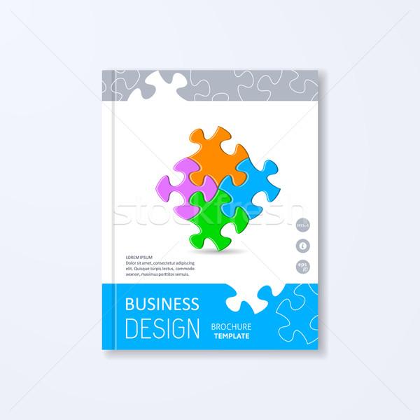 Stok fotoğraf: Vektör · broşür · tasarım · şablonu · renkli · puzzle · parçaları · kâğıt
