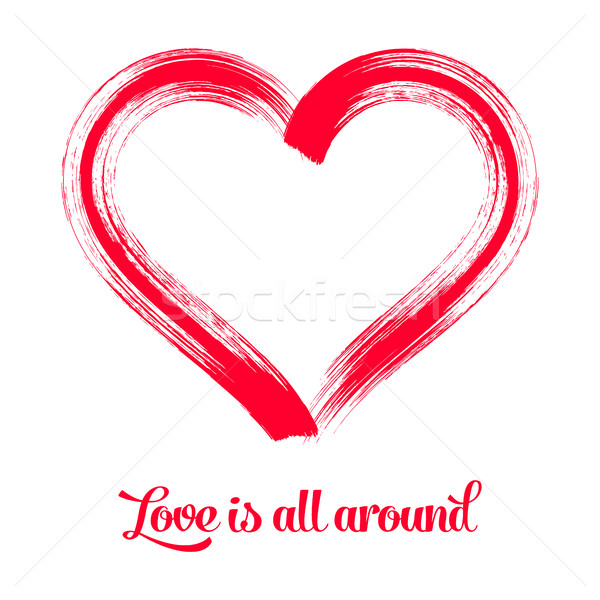 Red vector brush stroke heart symbol  Stock photo © blumer1979