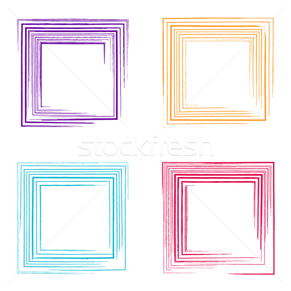 Colorful vector grunge square frames Stock photo © blumer1979