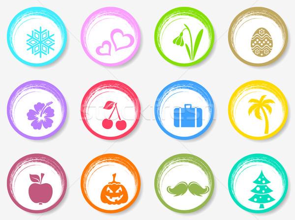 Vektor naptár kör hónap szimbólumok színes Stock fotó © blumer1979