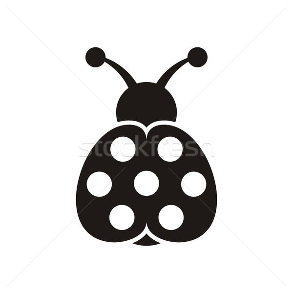 Коровка икона черный вектора Cute семь Сток-фото © blumer1979