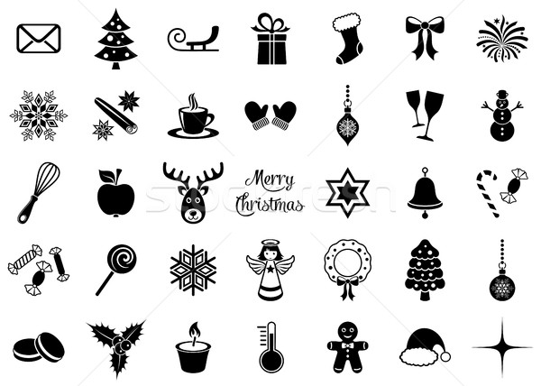 Сток-фото: черный · вектора · Рождества · силуэта · иконки · большой