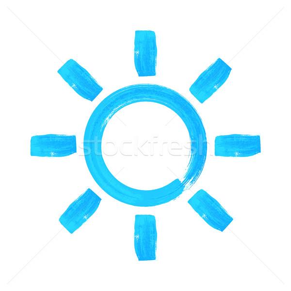 Kék vízfesték kézzel rajzolt nyár nap dizájn elem Stock fotó © blumer1979