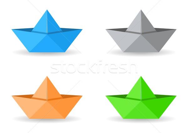оригами лодках набор четыре вектора бумаги Сток-фото © blumer1979